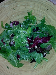 Mixed herb greens salad with Himalayan Salt with Lavender, roasted pine nuts and grated parmesan.